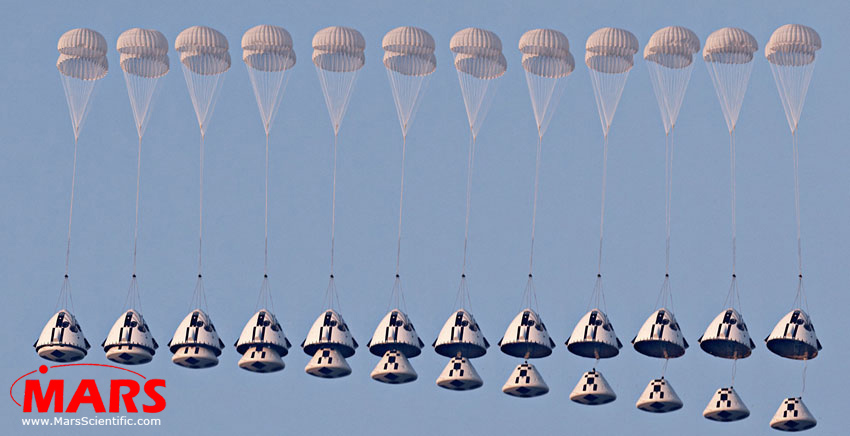High-speed imaging sequence of parachute deployment during NASA capsule abort systems test